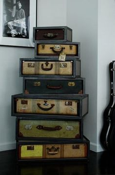 A selection of old suitcases are housed individually in antiqued steel and wood cases that have been tailor made in Somerset. Every case is carefully and painstakingly repaired and repurposed – relined in Swedish linen ready to recieve their new contents.