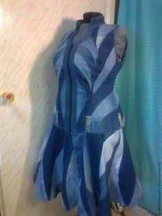 """Купить Сарафан """" Виктория"""" - синий, авторская работа, эксклюзив, абстракция, джинсовый стиль, джинса"""