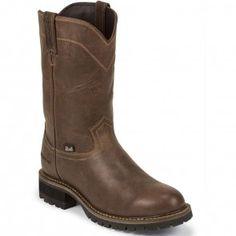 WK4988 Justin Original Men's Waterproof Work Boots - Brown www.bootbay.com