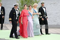 Crown Prince Frederik of Denmark, Crown Princess Mary of Denmark, Princess Martha Louise of Norway, Crown Princess Mette-Marit of Norway and Crown Prince Haakon of Norway depart for the banquet after the wedding ceremony of Princess Madeleine of Sweden and Christopher O'Neill hosted by King Carl Gustaf XIV and Queen Silvia at The Royal Palace on June 8, 2013 in Stockholm, Sweden.