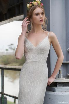 limor rosen 2015 blanch sleeveless embellished sheath wedding dress spaghetti straps close up bodice view