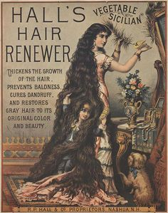 Solid-Faced Canvas Print Wall Art Print entitled Hair Restorative, None Vintage Advertisements, Vintage Ads, Vintage Posters, Vintage Type, Vintage Stuff, Vintage Images, Vintage Hairstyles, Cool Hairstyles, Edwardian Hairstyles