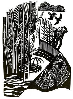 Spring Marsh - Linocut by Clare Curtis