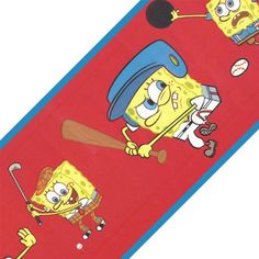 Spongebob Squarepants Sports Red Prepasted Wall Border @ niftywarehouse.com #NiftyWarehouse #Nerd #Geek #Entertainment #TV #Products