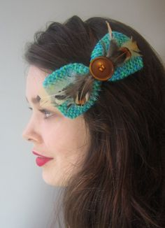 Hair clip turquoise teal hair bow womens hair accessories teal hair clip bow teal hairbow barrette with pheasant feathers and vintage button