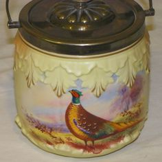 Pheasant Decorated Biscuit Jar