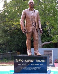 Tupac Amaru Shakur statue was in the Peace Garden of the Tupac Amaru Shakur Center, Stone Mountain, GA.   Property was sold in 2014 and statue disappeared a year later.  - See more at: http://www.roadsideamerica.com/story/24628#sthash.ciHmjyAD.dpuf