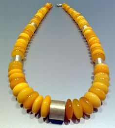 Real Baltic Amber Necklace Butterscotch and Sterling Silver 46 cm 18,11