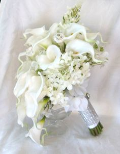 White Calla lily lilacs and hydrangea wedding bouquet all white bridal Hand Bouquet Wedding, Calla Lily Wedding Flowers, Calla Lily Bridal Bouquet, Hydrangea Bouquet Wedding, Cascading Wedding Bouquets, Calla Lilies, Bridal Bouquets, Marie, White Bridal