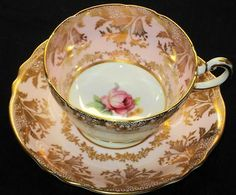 PARAGON ENGLAND PALE PINK GOLD PINKY ROSE WIDE TEA CUP AND SAUCER