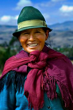 South America | Portrait of a elderly women in felt brown hat and shawl identify the traditions in the Andes of Ecuador | Anthony John Coletti