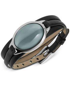 Skagen Silver-Tone Sea Glass Bracelet with Leather Strap