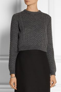 Miu Miu | Cropped cable-knit sweater | NET-A-PORTER.COM
