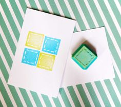 Square Handcarved Rubber Stamp  Geometric hand carved by theKeris, $3.25