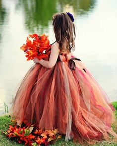 20 Fall Flower Girl Outfits That Are Just Too Cute: Bold shades of red and brown tutu dress