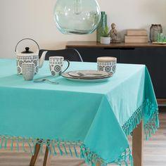 Nappe carrée en coton turquoise 170 x 170 cm KEDIRI