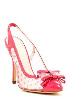 Beauty Heel Lavender Polka Dot Bow Slingback Pump