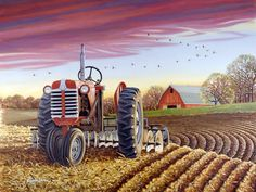 The Quiet Time ~ Artist John Sloane Arte Country, Country Life, Country Living, Farm Paintings, Farm Pictures, Henri Rousseau, Farm Art, Old Tractors, Country Scenes