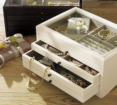 I'm also loving this smaller jewelry box with my monogram {tRb} on it...at least my nice jewelry would have a place and costume jewelry can continue being nomadic. Andover Jewelry Box #potterybarn