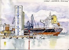 Dans le port de Lorient, l'Anastasia, de Panama Aquarelle sur carnet Moleskine 21x30 cm  In the Lorient harbour, the Anastasia ship, from Panama Watercolor on Moleskine sketchbook 21x30 cm
