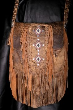 ☮ American Hippie Bohemian Boho Style ~ Leather Fringe Bag