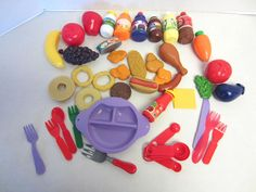 Lot Play Food 40 Pieces Utensils Fruits Vegetables