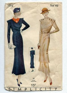 Vintage 1930s Simplicity 1292 Dramatic Gatsby Hour Glass Dress and Overskirt…