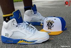 Buy Mens 136027-189 LANEY AIR JORDAN V RETRO white/varsity maize-varsity royal-black