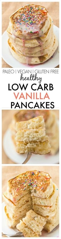 Healthy Thick and Fluffy Low Carb Pancakes which are SO easy, delicious and low . Healthy Thick and Fluffy Low Carb Pancakes which are SO easy, delicious and low in calories but you wouldn't Low Calorie Breakfast, Breakfast Desayunos, Breakfast Recipes, Breakfast Casserole, Breakfast Ideas, Low Carb Breakfast Easy, Low Carb Keto, Low Carb Recipes, Cooking Recipes