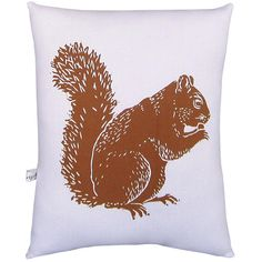 Found it at Wayfair - Squirrel Block Print Squillow Accent Cotton Throw Pillow