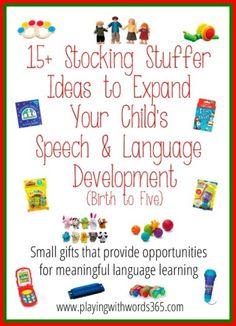 15+ Stocking Stuffer Ideas to Expand Speech & Language Development {Birth to Five}