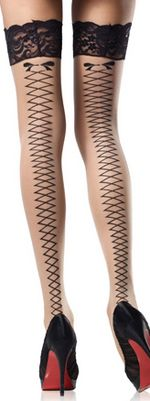 Leg Avenue Stay Up Faux Lace Up Back Stockings-O/S