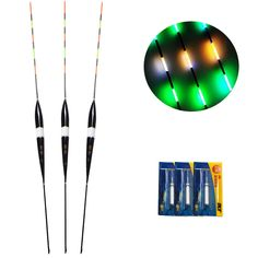 3pcs LED Fishing Float Electric Float Light + Battery Deep Water Float Fishing Tackle Bobber Fishing Gear With electrons free shipping worldwide