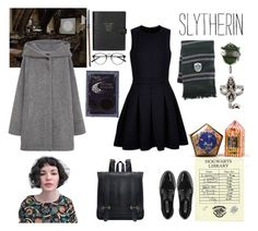 Slytherin as a tutor by realslytherinpride on Polyvore featuring Comptoir Des Cotonniers, MANGO, Dune, Smythson, CO, harrypotter, slytherin and tutor