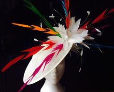 Feathertastic bold hatinator full of colour  Quirky hat www.hadleighhats.co.uk