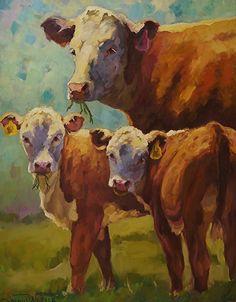 """""""Jodi'e Cows Have Come Home"""" by Sarah J. Webber Fine Art  ~ 60"""" x 48"""" http://www.pinterest.com/paustin/cows/"""