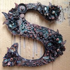 Butterflies N' Buttons: upcycled wooden letter -- mixed media