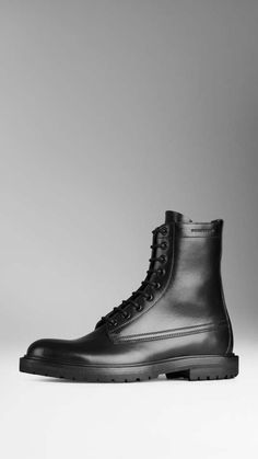 Burberry | Leather Military Boots #burberry #military #boots