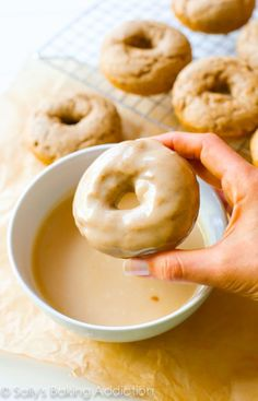 Maple Donuts by sallysbakingaddic. - spiced cake donuts covered in a rich, thi. Maple Donuts by sallysbakingaddic. - spiced cake donuts covered in a rich, thick maple glaze. The donuts are baked, not fried and incredibly simple . Donut Glaze Recipes, Maple Donut Icing Recipe, Recipe For Maple Glaze, Homemade Donut Glaze, Homade Donuts, Powdered Donuts, Maple Frosting, Maple Donuts, Maple Donut Glaze
