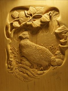 www.lpostrustics.com Grouse with chicks, hand carved by Jillian Post