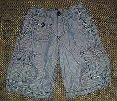 Baby Gap boys 4T pull on chambray striped jean shorts