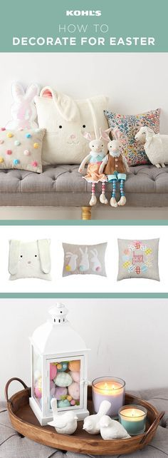 Set the stage for Easter fun with a couple of cute, modern decor vignettes. To create a cozy area for guests to relax in, group playful pillows in a neutral color palette with pops of pastel and pattern. (We're partial to bunny ears and pretty pom-poms right now.) Add stuffed bunnies and sheep for extra whimsy. For a charming display on a coffee table or side table, fill a white lantern with plastic Easter eggs and place it on a wooden tray with candles and white bird figurines.