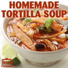 Mexican chef Pati Jinich shared her beloved Tortilla Soup Recipe with Michael Symon on The Chew, featuring her baked or fried homemade tortilla crisps. (Corn Soup Recipes)