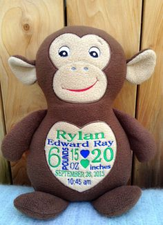 Personalized baby gift monogrammed monkey birth announcement monogrammed baby gift embroidered monkey made in usa exclusively offered by personalized by world class embroidery negle Image collections