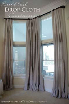 curtains for side by side windows window treatment diy ruffled drop cloth curtains for down stairs how to dress three windows side by google search home decor