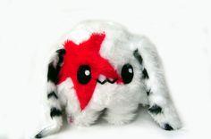 Fluse :Kleiner Bunny- Hase aus hochwertigem Kuschel -Plüsch,Fell-Imitat in Rot- Weiss   ! Einzelstück!Unikat! Nach eigener Vorlage hergestellt! Maschi