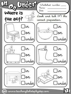Place Prepositions - Worksheet 1 (B&W version)