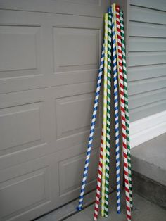 Ribbon wrapped PVC pipe she used to hang streamers between