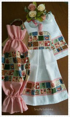 Kit cozinha - puxa saco, bate mão e toalha de prato