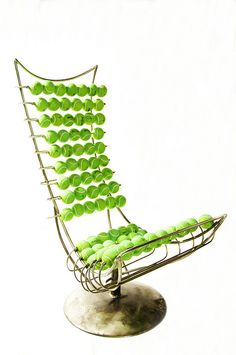 Modern chair with recycled Tennis balls.